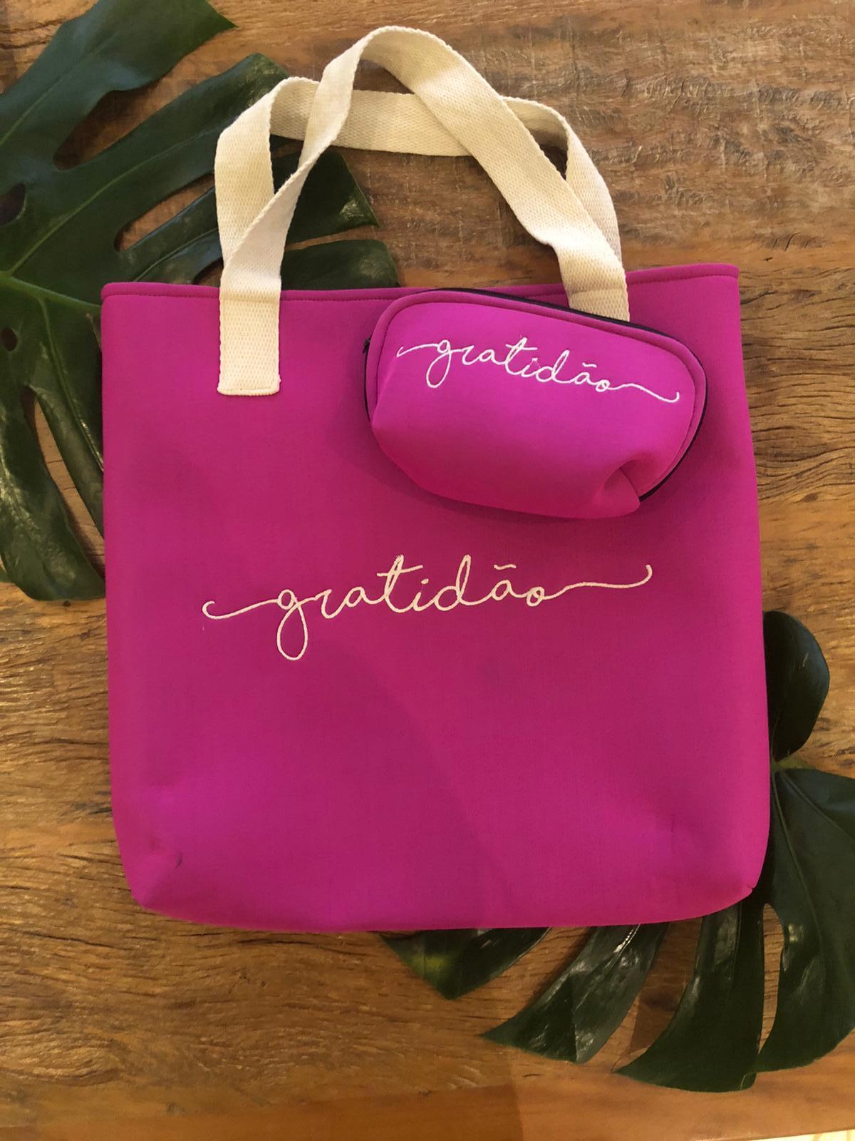 Bolsa de praia pink gratidão com necessarie gratidão