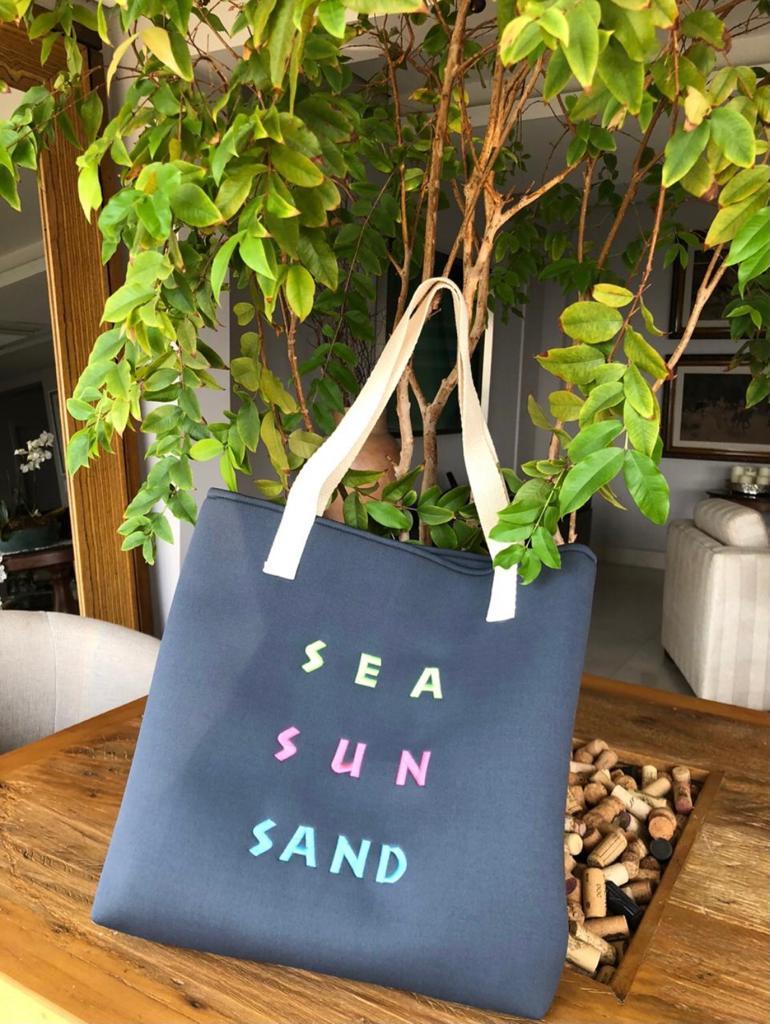 Bolsa de Praia cinza bordado SEA SUN SAND