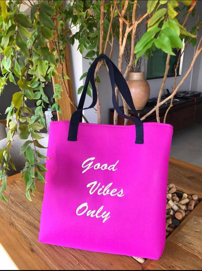 Bolsa de praia pink Only good vibes